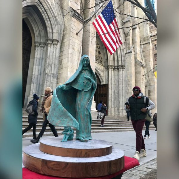 Mother Cabrini Statue in front of St. Patricks Cathedral in New York City